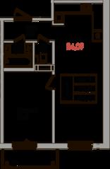ЖК «Верхний», планировка 1-комнатной квартиры, 44.30 м²