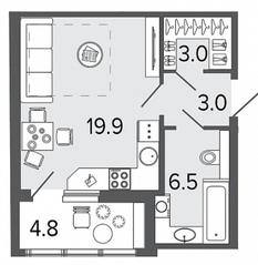 ЖК «Созидатели», планировка студии, 32.40 м²