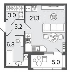 ЖК «Созидатели», планировка студии, 34.30 м²