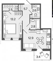 ЖК «Созидатели», планировка 1-комнатной квартиры, 39.70 м²