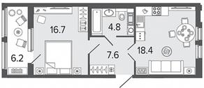 ЖК «Созидатели», планировка 1-комнатной квартиры, 47.50 м²