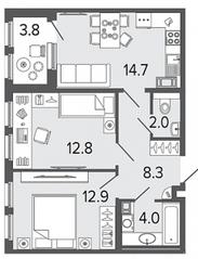 ЖК «Созидатели», планировка 2-комнатной квартиры, 54.70 м²