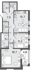 ЖК «Созидатели», планировка 2-комнатной квартиры, 71.90 м²