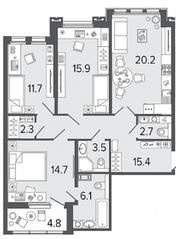 ЖК «Созидатели», планировка 3-комнатной квартиры, 92.50 м²
