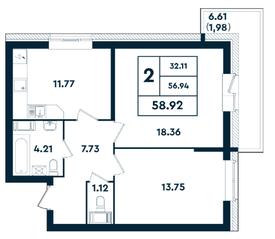 ЖК «Оазис», планировка 2-комнатной квартиры, 58.92 м²