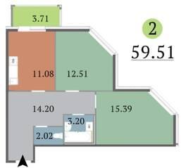 МЖК «Red Village», планировка 2-комнатной квартиры, 59.51 м²