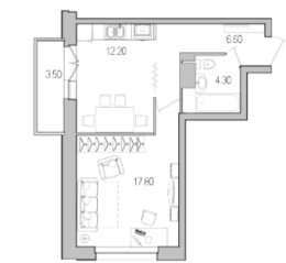 ЖК «Поэт», планировка 1-комнатной квартиры, 42.00 м²