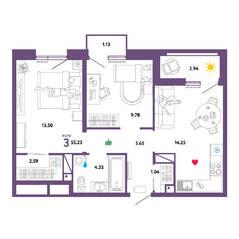ЖК «Принцип», планировка 3-комнатной квартиры, 55.00 м²