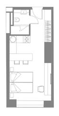 МФК «YE'S Ботанический сад», планировка студии, 27.64 м²