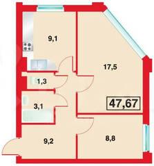ЖК «Бенуа-2», планировка 2-комнатной квартиры, 49.00 м²