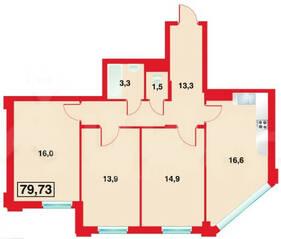 ЖК «Бенуа-2», планировка 3-комнатной квартиры, 79.73 м²