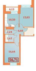 ЖК «Шереметевский Дворец», планировка 2-комнатной квартиры, 56.73 м²