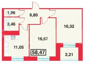 ЖК «Шереметевский Дворец», планировка 2-комнатной квартиры, 58.47 м²