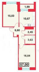 ЖК «Александрийский», планировка 2-комнатной квартиры, 57.00 м²