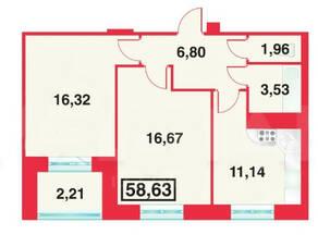 ЖК «Александрийский», планировка 2-комнатной квартиры, 58.63 м²