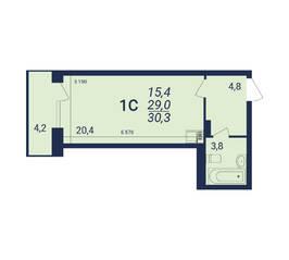 ЖК «Nova-дом», планировка студии, 30.30 м²