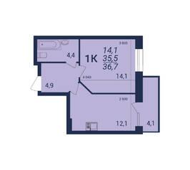 ЖК «Nova-дом», планировка 1-комнатной квартиры, 36.70 м²