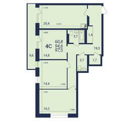 ЖК «Nova-дом», планировка 4-комнатной квартиры, 97.50 м²