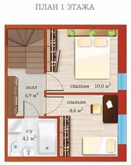 МЖК «Близкое», планировка 4-комнатной квартиры, 104.90 м²