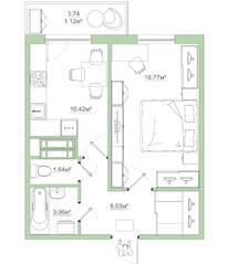 ЖК «Белый сад», планировка 1-комнатной квартиры, 41.04 м²
