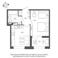 ЖК «Domino», планировка 1-комнатной квартиры, 36.80 м²
