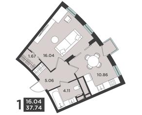 ЖК «Лефорт», планировка квартиры со свободной планировкой, 37.74 м²