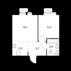 ЖК «Амурский парк», планировка 1-комнатной квартиры, 41.00 м²