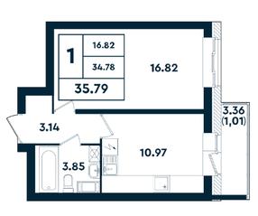 ЖК «Оазис», планировка 1-комнатной квартиры, 35.79 м²