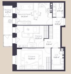 МЖК «Veren Village стрельна», планировка 2-комнатной квартиры, 60.80 м²