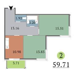 МЖК «Red Village», планировка 2-комнатной квартиры, 59.71 м²