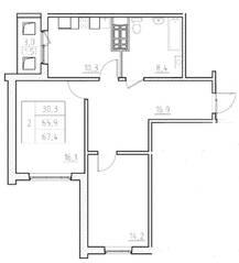 ЖК «Нева Сити» (Кировск), планировка 2-комнатной квартиры, 67.40 м²