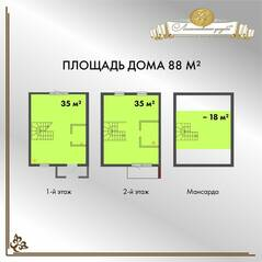 МЖК «Ломоносовская усадьба», планировка квартиры со свободной планировкой, 89.10 м²
