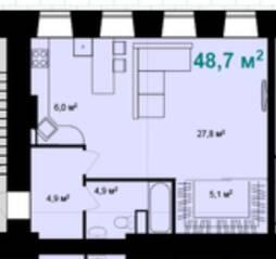 ЖК «Адмирал» (Адмиралтейский), планировка 1-комнатной квартиры, 48.70 м²