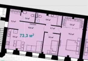 ЖК «Адмирал» (Адмиралтейский), планировка 2-комнатной квартиры, 73.30 м²