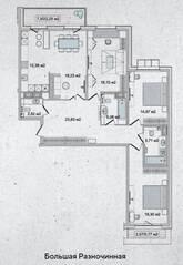 ЖК «Family Loft», планировка 4-комнатной квартиры, 122.81 м²