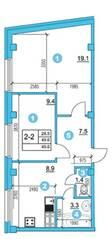 ЖК «O'Range», планировка 2-комнатной квартиры, 49.60 м²