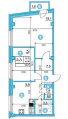 ЖК «O'Range», планировка 2-комнатной квартиры, 50.10 м²