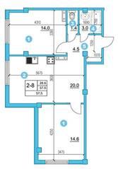 ЖК «O'Range», планировка 2-комнатной квартиры, 57.50 м²