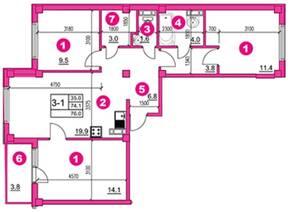 ЖК «O'Range», планировка 3-комнатной квартиры, 76.00 м²
