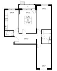 ЖК «Дом на Барвихинской», планировка 3-комнатной квартиры, 88.20 м²