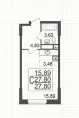 ЖК «Юбилейный» (Реутов), планировка студии, 27.80 м²