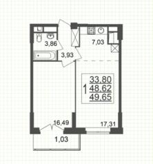 ЖК «Юбилейный» (Реутов), планировка 1-комнатной квартиры, 49.65 м²