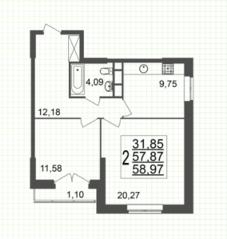 ЖК «Юбилейный» (Реутов), планировка 2-комнатной квартиры, 58.97 м²