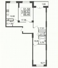 ЖК «Юбилейный» (Реутов), планировка 3-комнатной квартиры, 88.46 м²