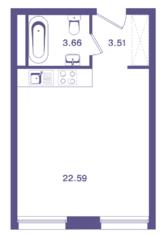 ЖК «Ты и Я», планировка 1-комнатной квартиры, 29.76 м²