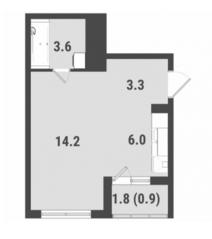 ЖК «FoRest», планировка студии, 28.00 м²