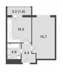 ЖК «FoRest», планировка 1-комнатной квартиры, 37.20 м²