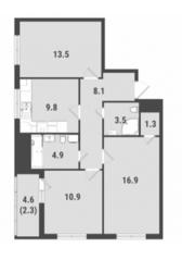 ЖК «FoRest», планировка 3-комнатной квартиры, 71.20 м²