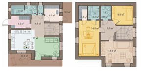 КП «ПриЛЕСный», планировка 3-комнатной квартиры, 119.60 м²