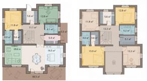 КП «ПриЛЕСный», планировка 5-комнатной квартиры, 264.00 м²